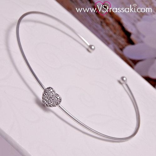 Βραχιόλι Χειροπέδα από Ορείχαλκο Slim Bracelet Ασημί 6066