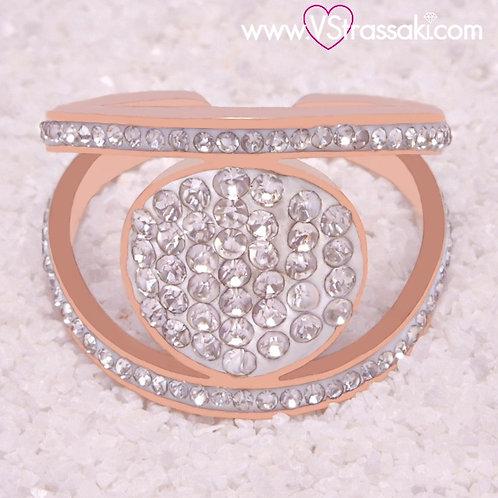 Ατσάλινο Δαχτυλίδι με Στρογγυλό Στοιχείο Ροζ Χρυσό 2259