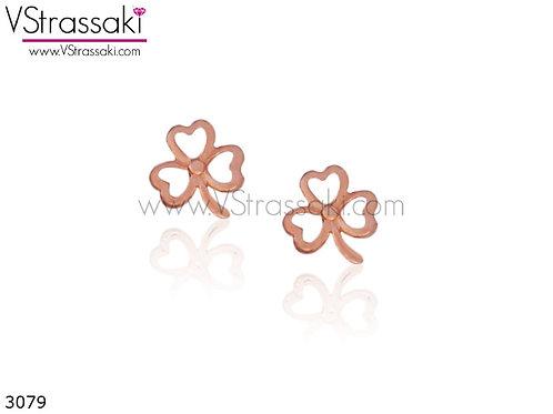 Σκουλαρίκια Καρφωτά 0.7cm  SilverClover Ροζ Χρυσό Από 925 Ασήμι 3079