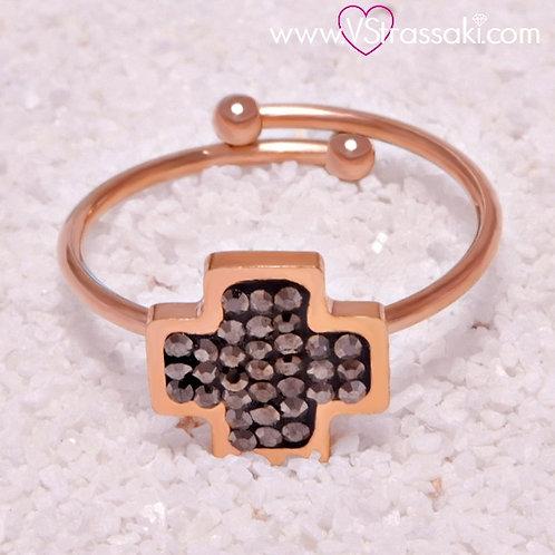 Ατσάλινο Δαχτυλίδι με Σταυρό Ροζ Χρυσό 2109
