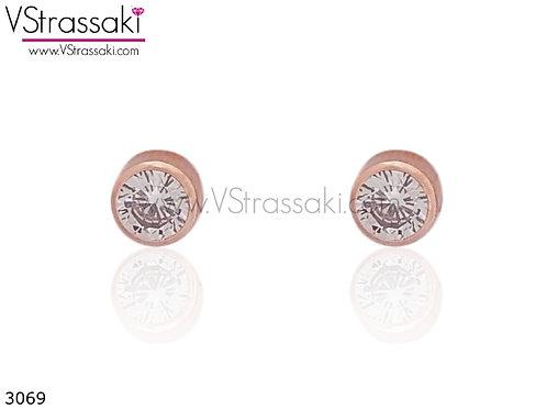 Σκουλαρίκια Καρφωτά 0.3cm DailyChoice Ροζ Χρυσό Με Καρφάκι Από 925 Ασήμι 3069