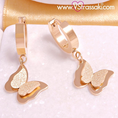 Ατσάλινα Σκουλαρίκια Πεταλούδες Κοντά 3cm Χρυσό 3374