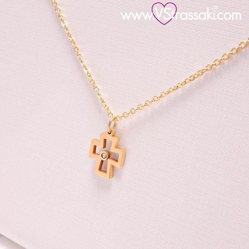 Ατσάλινο Κοντό Κολιέ Με Σταυρό και Ζιργκόν Χρυσό 4484