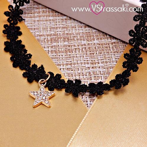 Choker Με Αστέρι Choker Lace Necklace 4148