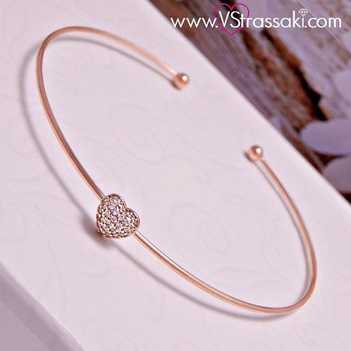 Βραχιόλι Χειροπέδα από Ορείχαλκο Slim Bracelet Ροζ Χρυσό 6067