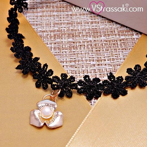 Choker Με Λουλούδι Choker Lace Necklace 4147