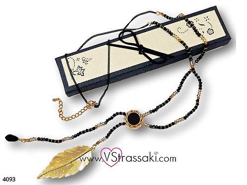 Κολιέ Με Φύλλο Και Χάντρες LeafNecklace Χρυσό 4093