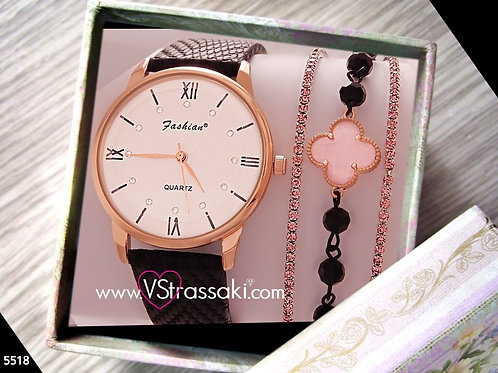 Σετ Ρολόι Με 3 Βραχιόλια RosaryCross Με Λουράκι Δερματίνη 5518