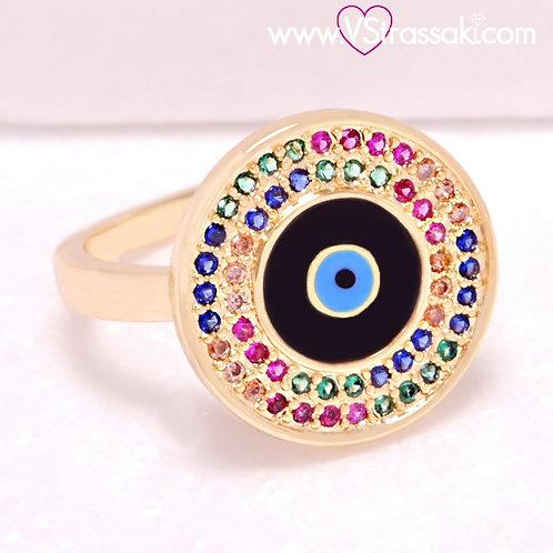 Ατσάλινο Δαχτυλίδι με Μάτι από Σμάλτο Χρυσό 2234