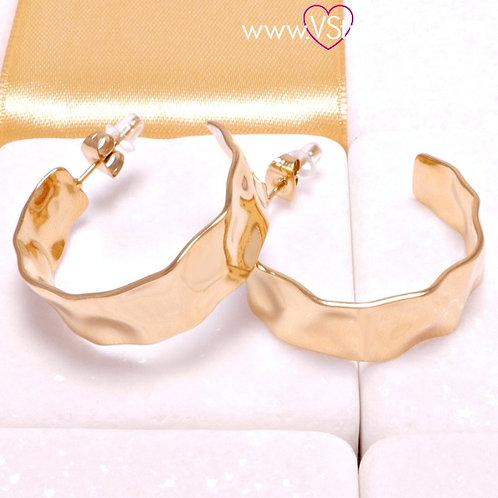Ατσάλινα Σκουλαρίκια Σφυρήλατοι Κρίκοι Κοντά 3cm Χρυσό 3219