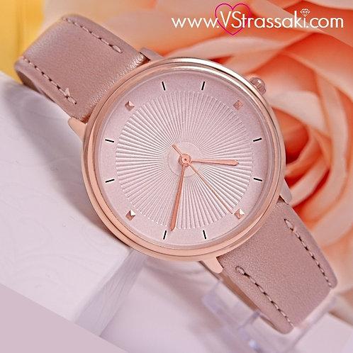 Γυναικείο Ρολόι Με Λουράκι Δερματίνη SimpleTime Ροζ Χρυσό 5025