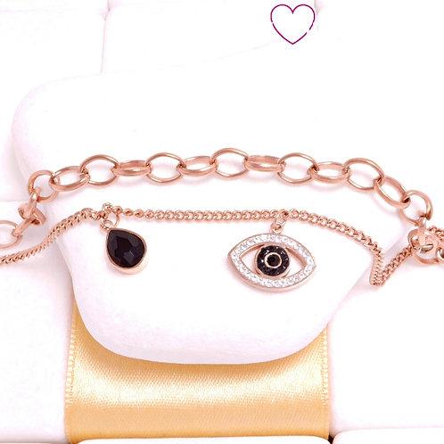 Ατσάλινο Βραχιόλι με Διπλή Αλυσίδα με Μάτι και Δάκρυ Ροζ Χρυσό 6374