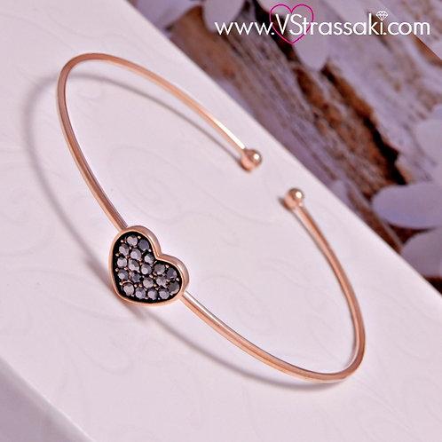 Βραχιόλι Χειροπέδα από Ορείχαλκο Slim Bracelet Ροζ Χρυσό 6063