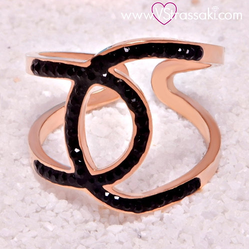 Ατσάλινο Δαχτυλίδι με Γεωμετρικό Σχέδιο Ροζ Χρυσό 2126
