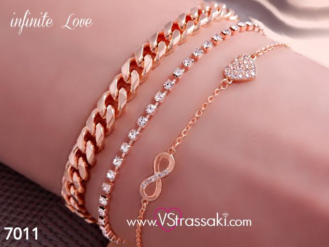 Σετ από τρία βραχιόλια αλυσίδα, στρας με καρδιά και άπειρο σε ροζ χρυσό