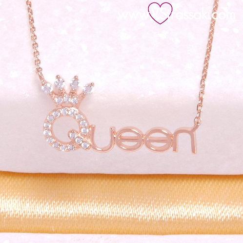 Ασημένιοκοντό κολιέ αλυσίδα με μενταγιόν Queen με Κορώνακαιλευκά ζιργκόν, ασήμι 925 σε ροζ χρυσό