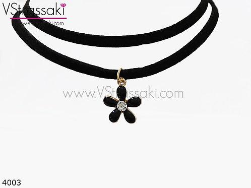 Διπλό Κολιέ Choker Με Λουλούδι Από Δέρμα Suede RoundFlower Μαύρο 4003