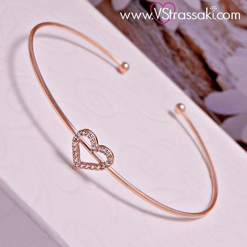 Βραχιόλι Χειροπέδα από Ορείχαλκο Slim Bracelet Ροζ Χρυσό 6069