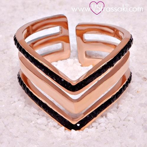 Ατσάλινο Δαχτυλίδι με Τριπλό V Ροζ Χρυσό 2127