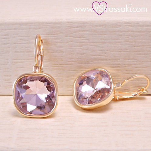 Σκουλαρίκια Κοντά 2.7cm με Ροζ Κρύσταλλο Χρυσό 3177
