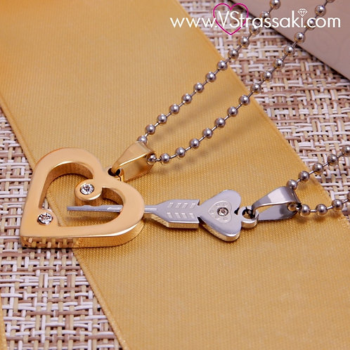 Σετ από 2 Κολιέ Key of My Heart Necklace Χρυσό Ασημί 4151