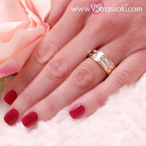 Ατσάλινο Δαχτυλίδι Βεράκι Δίσειρο Ροζ Χρυσό 2162