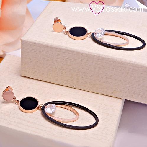 Σκουλαρίκια Μακριά 6cm Steel Earrings Από Ανοξείδωτο Ατσάλι Ροζ Χρυσό 3163