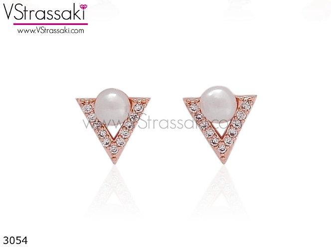 Σκουλαρίκια Καρφωτά 0.8cm TrianglePearl Ροζ Χρυσό Με Καρφάκι Από 925 Ασήμ 3054