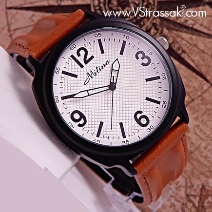 Ανδρικό Ρολόι με Λουράκι Δερματίνη σε Κάμελ Χρώμα, Μαύρη Κάσα και Λευκό Καντράν με Γεωμετρικά Σχέδια