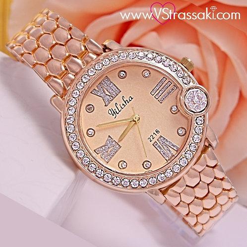 Γυναικείο Ρολόι Με Μεταλλικό Λουράκι PureTime Ροζ Χρυσό 5023