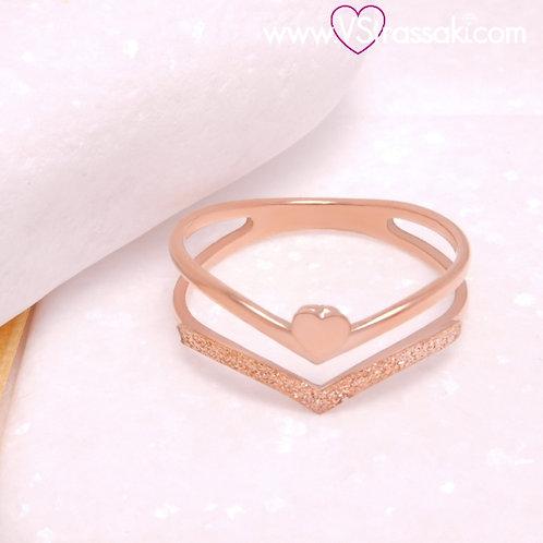 Διπλό Ατσάλινο Δαχτυλίδι V με Καρδιά Ροζ Χρυσό 2285
