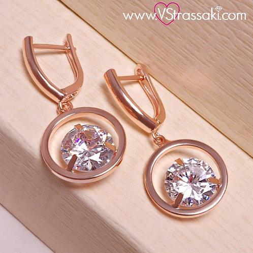 Σκουλαρίκια Κύκλος Κοντά 3.4cm με Λευκό Κρύσταλλο Ροζ Χρυσό 3202