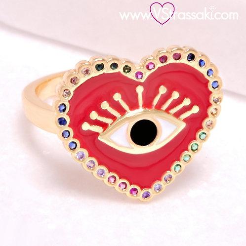 Ατσάλινο Δαχτυλίδι με Καρδιά και Μάτι από Σμάλτο Χρυσό 2220