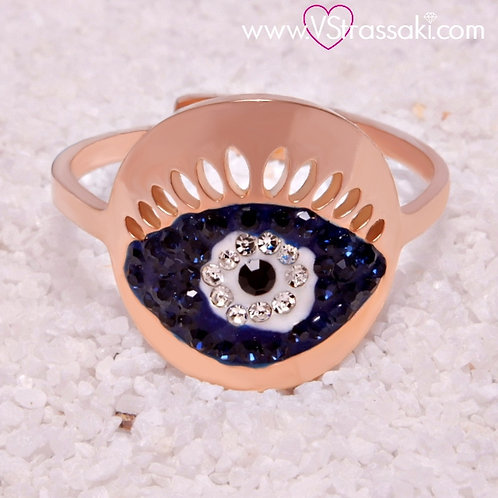 Ατσάλινο Δαχτυλίδι με Μάτι Ροζ Χρυσό, Μπλε 2143