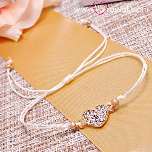 Βραχιόλι Με Καρδιά και Ματάκι Heart Bracelet 6081