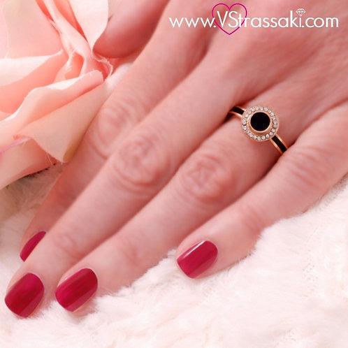 Ατσάλινο Δαχτυλίδι Ροζέτα Ροζ Χρυσό, Μαύρο 2164