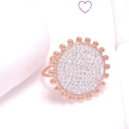 Ατσάλινο Στρογγυλό Δαχτυλίδι Λουλούδι Ροζ Χρυσό 2321