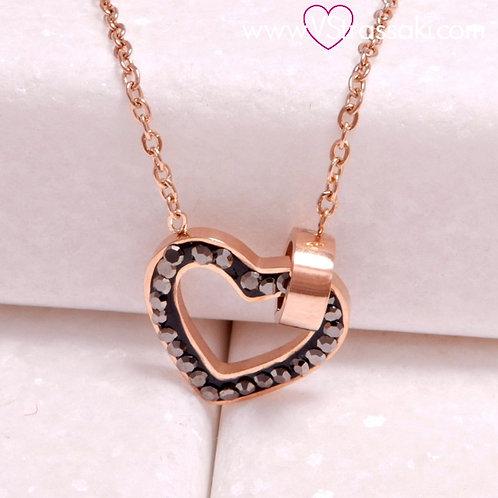 Ατσάλινο Κοντό Κολιέ Με Καρδιά και Βεράκι Ροζ Χρυσό, Γκρι 4312