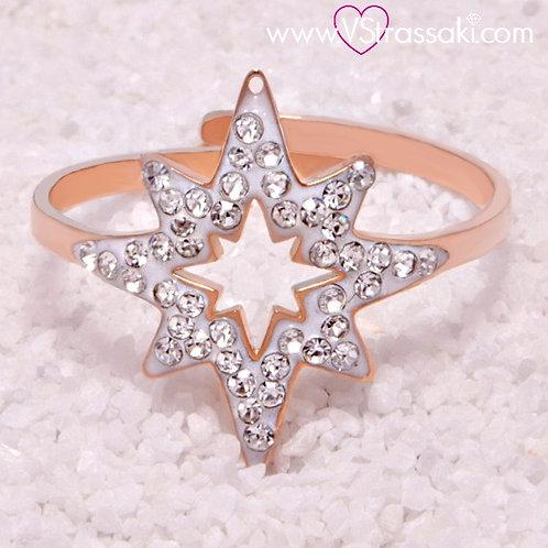 Ατσάλινο Δαχτυλίδι με τον Βόρειο Πολικό Αστέρα, Αστέρι του Βορρά Ροζ Χρυσό 2153