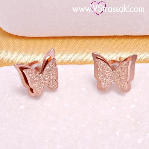 Ατσάλινα Σκουλαρίκια Καρφωτά με Πεταλούδες 1cm Ροζ Χρυσό 3289