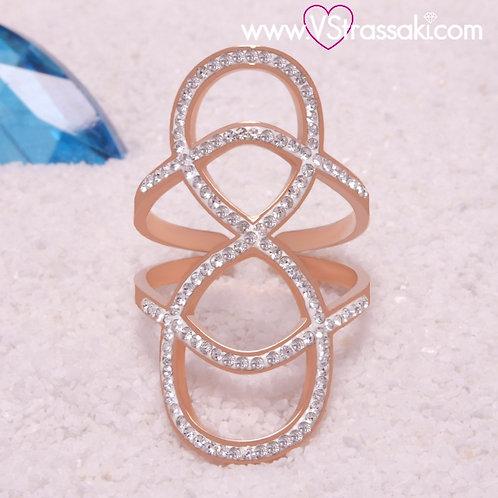Ατσάλινο Δαχτυλίδι με Γεωμετρικό Σχέδιο Ροζ Χρυσό 2242