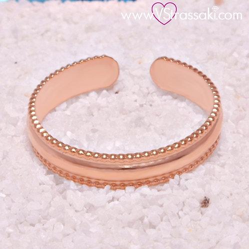 Ατσάλινο Δαχτυλίδι Βεράκι Ροζ Χρυσό 2101