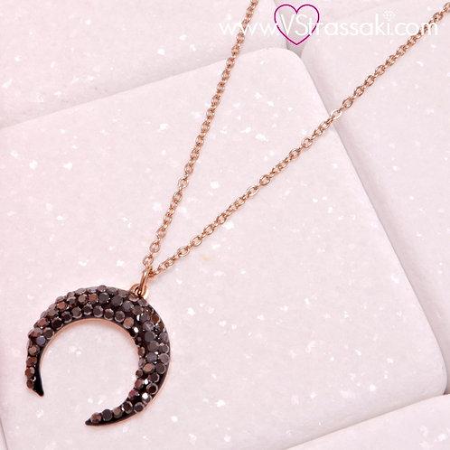 Ατσάλινο Κοντό Κολιέ Με Φεγγάρι Ροζ Χρυσό, Γκρι Μαύρο 4282
