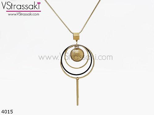 Κολιέ Με Κύκλους MultipleCircle Χρυσό Μαύρο 4015