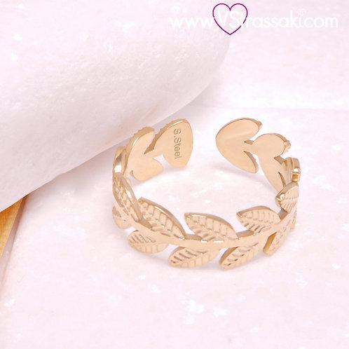 Ατσάλινο Δαχτυλίδι με Φύλλα Χρυσό 2272