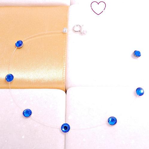 Βραχιόλι με Μπλε Κρυσταλλάκια Swarovski και Κούμπωμα 925 Aσήμι 6442