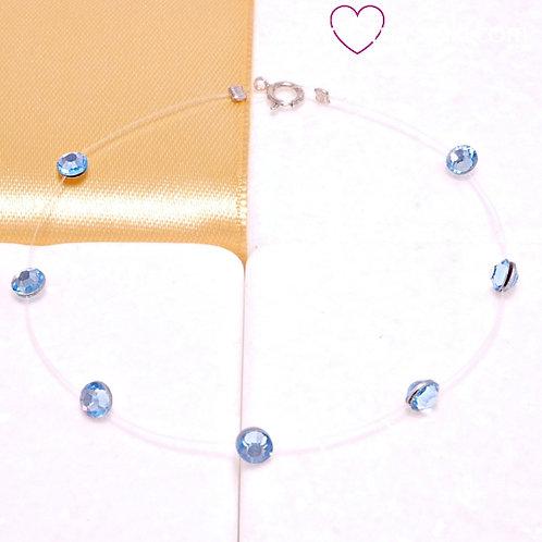 Βραχιόλι με Γαλάζια Κρυσταλλάκια Swarovski και Κούμπωμα 925 Aσήμι 6186