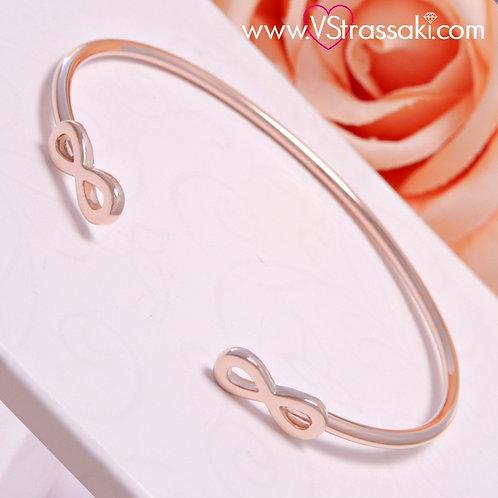 Βραχιόλι Χειροπέδα από Ορείχαλκο Double Infinity Bracelet Ροζ Χρυσό 6096
