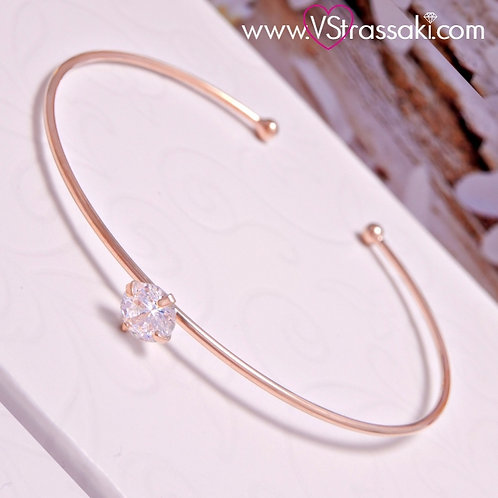 Βραχιόλι Χειροπέδα από Ορείχαλκο Slim Bracelet Ροζ Χρυσό 6058