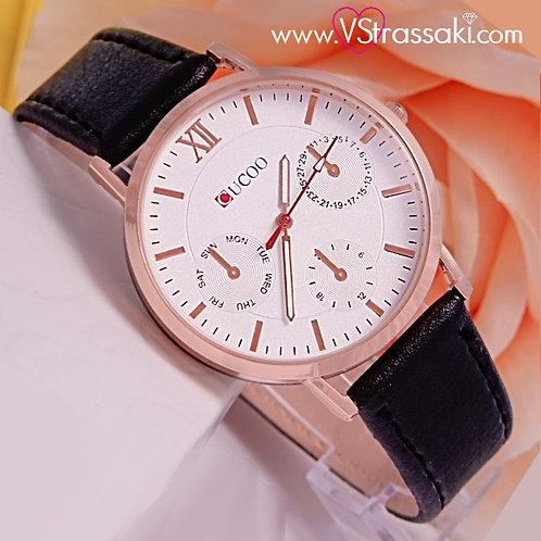Γυναικείο Ρολόι CUCOO Με Λουράκι Δερματίνη SimpleTime Ροζ Χρυσό 5015